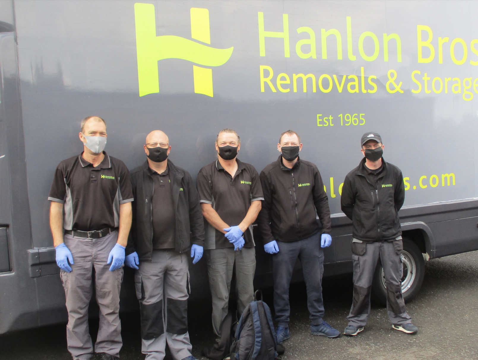 Hanlon team members with masks & PPE